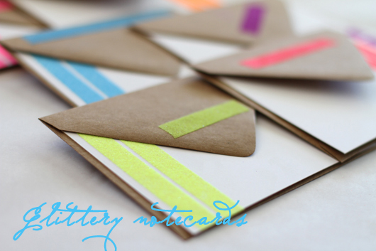 DIY Glittery Neon NotecardsFor the Love of For the Love of…