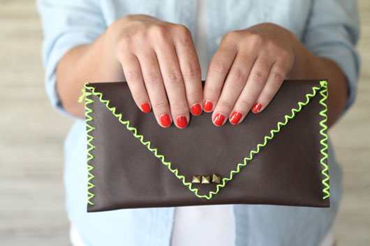 DIY-No-Sew-Neon-and-Leather-Clutch