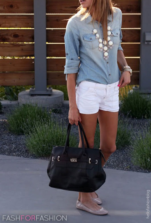 chambray-and-white-shorts